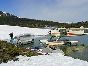 Using a floatplane to access spring skiing and fishing