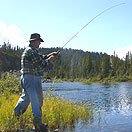 Fly fishing a river