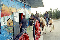 Now Mclean's Trading, it still isn't unusual for shoppers to come by horseback - picture taken  2004
