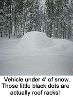Heavy snow covers a car